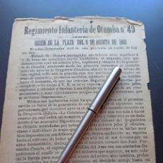 Militaria: FELICITACIÓN EN LA ORDEN DEL REGIMIENTO. INCENDIO 1903. MMI. Lote 212667536