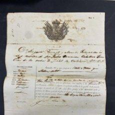 Militaria: ISLAS CANARIAS. GOBERNADOR CIVIL Y MILITAR. PASAPORTE PARA LA ISLA DE CUBA. SELLO EN SECO. 1860. Lote 213759250