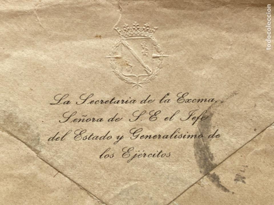Militaria: Sobre oficial secretaria señora del jefe del estado y generalisimo de los ejercitos 1941 - Foto 2 - 213877698