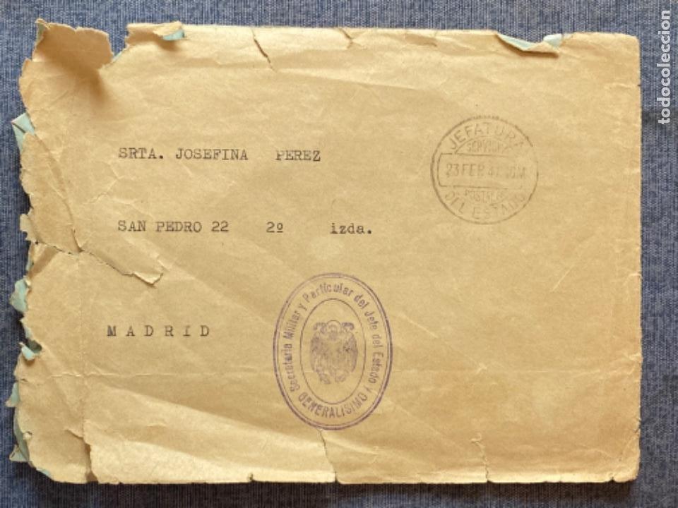 Militaria: Sobre oficial secretaria señora del jefe del estado y generalisimo de los ejercitos 1941 - Foto 3 - 213877698