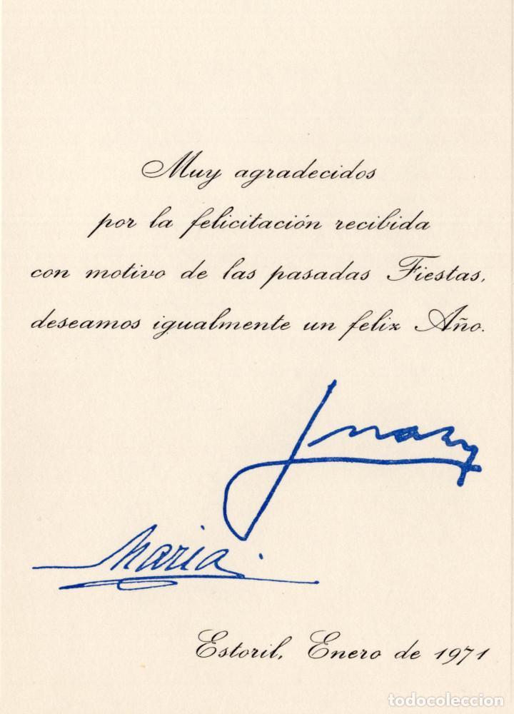 FELICITACIÓN FIN DE AÑO. EN EL EXILIO DE JUAN DE BORBÓN Y MARÍA DE LAS MERCEDES. 1971, CASA REAL (Militar - Propaganda y Documentos)