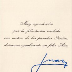 Militaria: FELICITACIÓN FIN DE AÑO. EN EL EXILIO DE JUAN DE BORBÓN Y MARÍA DE LAS MERCEDES. 1971, CASA REAL. Lote 214365987
