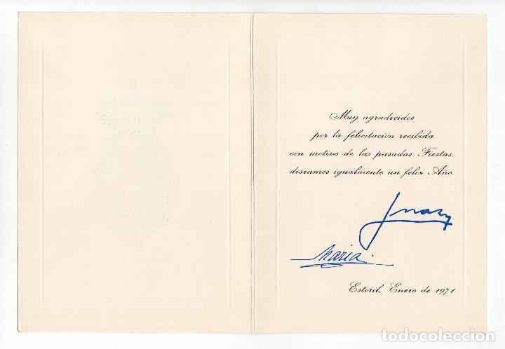 Militaria: FELICITACIÓN FIN DE AÑO. EN EL EXILIO DE JUAN DE BORBÓN Y MARÍA DE LAS MERCEDES. 1971, CASA REAL - Foto 3 - 214365987