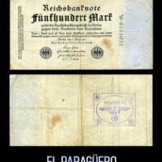 Militaria: ALEMANIA BILLETE CLASICO ORIGINAL 500 MARKOS DE 1922 CON SELLO VIOLETA ESVASTICA DE LA ALEMANIA NAZI. Lote 214560511