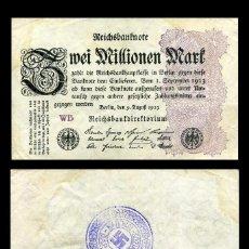 Militaria: ALEMANIA BILLETE CLASICO 2 MILLONES D MARKOS DE 1923 CON SELLO VIOLETA ESVASTICA DE LA ALEMANIA NAZI. Lote 215030227