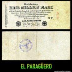 Militaria: ALEMANIA BILLETE CLASICO 1 MILLON DE MARKOS DE 1923 CON SELLO VIOLETA ESVASTICA DE LA ALEMANIA NAZI. Lote 215042281