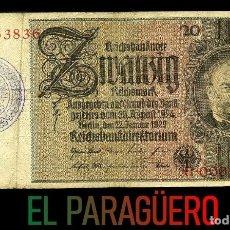 Militaria: ALEMANIA BILLETE CLASICO 20 MARKOS DE 1929 CON SELLO VIOLETA ESVASTICA DE LA ALEMANIA NAZI. Lote 215077355