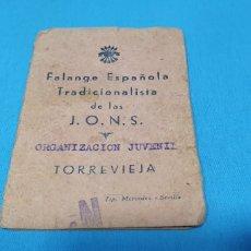 Militaria: CARNET PROVISIONAL - FALANGE ESPAÑOLA TRADICIONALISTA DE LAS J.O.N.S. 02-06-1939. Lote 215502663
