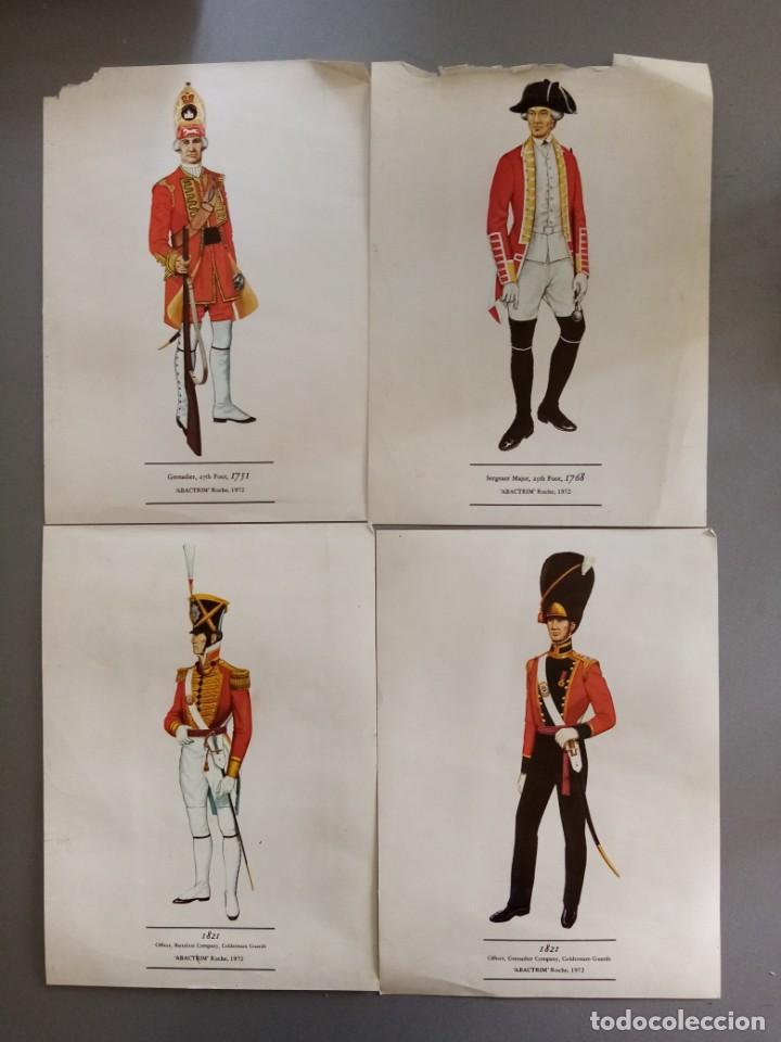 4 LÁMINAS DE UNIFORMES MILITARES SIGLOS XVIII Y XIX (Militar - Propaganda y Documentos)