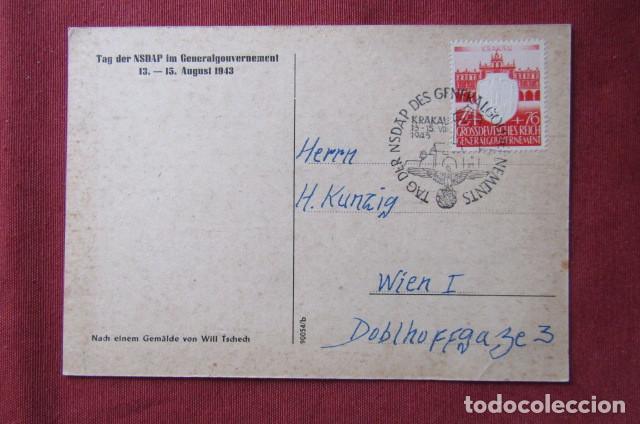 Militaria: Antiguo entero postal tarjeta postal alemana III reich alemán II segunda guerra mundial año 1943 - Foto 2 - 215940798