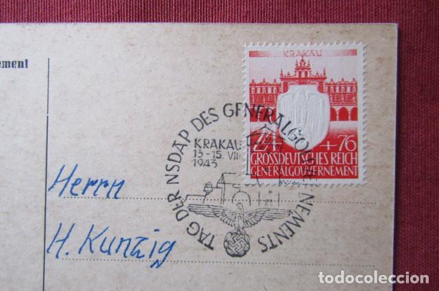 Militaria: Antiguo entero postal tarjeta postal alemana III reich alemán II segunda guerra mundial año 1943 - Foto 3 - 215940798
