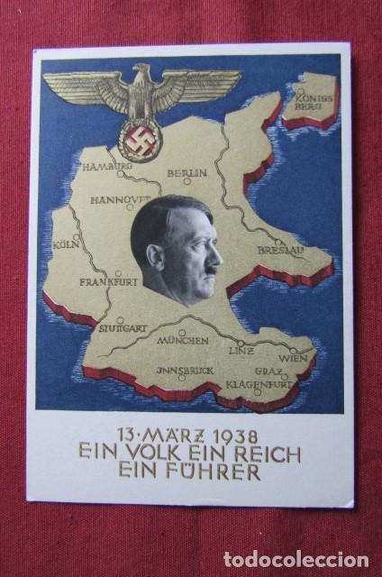ANTIGUO ENTERO TARJETA POSTAL ALEMANA III REICH ALEMÁN UNIFICACIÓN DE AUSTRIA CON ALEMANIA AÑO 1938 (Militar - Propaganda y Documentos)