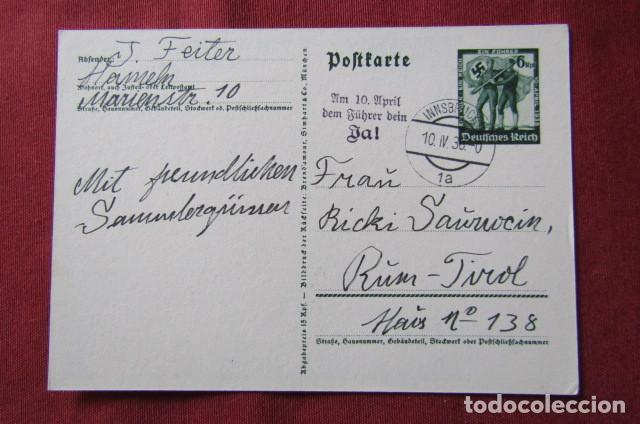 Militaria: Antiguo entero tarjeta postal alemana III reich alemán Unificación de Austria con Alemania año 1938 - Foto 2 - 215943726