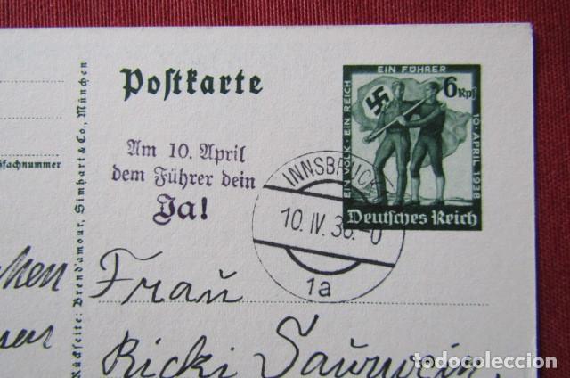 Militaria: Antiguo entero tarjeta postal alemana III reich alemán Unificación de Austria con Alemania año 1938 - Foto 3 - 215943726