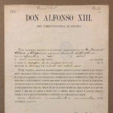 Militaria: DON ALFONSO XIII CARTA FIRMADA DE 1911. CONCESIÓN DE ASCENSO A CAPITÁN DE ARTILLERÍA. ORIGINAL.. Lote 216582198