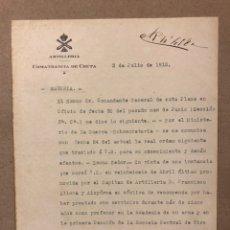 Militaria: ARTILLERÍA COMANDANCIA DE CEUTA. DOCUMENTO CONCESIÓN CRUZ MÉRITO MILITAR (1915).. Lote 216796370