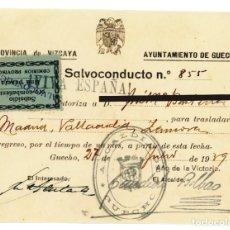 Militaria: SALVOCONDUCTO 27 JULIO 1939 PARA CIRCULAR MADRID VALLADOLID ZAMORA AYTO GUECHO GUERRA CIVIL SELLO. Lote 217911307
