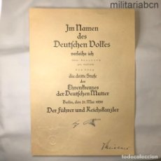 Militaria: ALEMANIA III REICH. CONCESIÓN CRUZ DE LA MADRE ALEMANA, VERSIÓN BRONC. FIRMA IMPRESA DE ADOLF HITLER. Lote 218491066