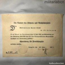 Militaria: ALEMANIA III REICH. CONCESIÓN CRUZ DE HONOR 1914-18. PARA COMBATIENTES. 1935.. Lote 218491313