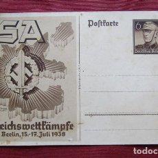 Militaria: ANTIGUO ENTERO TARJETA POSTAL ALEMANA II SEGUNDA GUERRA MUNDIAL PERIODO III REICH ALEMÁN AÑO 1938. Lote 218871781