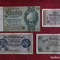 Militaria: LOTE 4 BILLETES ALEMANES ANTIGUOS DEL PERIODO 1933 1945 III REICH ALEMÁN II SEGUNDA GUERRA MUNDIAL. Lote 218911206