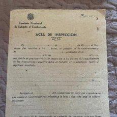 Militaria: COMISION PROVINCIAL DE SUBSIDIO AL COMBATIENTE ACTA DE INSPECCION. Lote 219616832