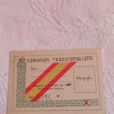 Militaria: CARNET COMUNIÓN TRADICIONALISTA.CARLISTA.REQUETE.MILITAR.FALANGE.FRANQUISTA.EJERCITO.NACIONAL.PATRIA. Lote 220631818