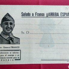 Militaria: CARTA, SOBRE , SALUDO A FRANCO -ARRIBA ESPAÑA , A TRAS LUZ SE VE LA VIRGEN DEL PILAR AÑOS 1936 -1939. Lote 221223905