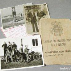 Militaria: CARNET DE LA ESCUELA DE AUTOMOVILISMO DEL EJÉRCITO 1946 CABALLERÍA DRAGONES DE ALMANSA. MOTOCICLETAS. Lote 221510595
