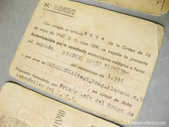 Militaria: CARNET DE LA ESCUELA DE AUTOMOVILISMO DEL EJÉRCITO 1946 CABALLERÍA DRAGONES DE ALMANSA. MOTOCICLETAS - Foto 6 - 221510595