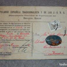 Militaria: FICHA ORIGINAL FALANGE ESPAÑOLA SECCION FEMENINA SERVICIO SOCIAL+PLACA AUXILIO SOCIAL. Lote 221710131