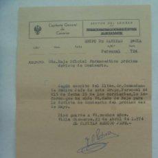 Militaria: CAPITANIA GENERAL CANARIAS- SECTOR SAHARA: BAJA OFICIAL FARMACEUTICO. VILLA CISNEROS 1974. Lote 222094660