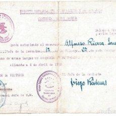 Militaria: AUTORIZACIÓN AL USO DE ARMAS LARGAS. 1939. FIRMA DIEGO RODENAS. JEFE DE CENTURIA RAMÓN LAGUNA.. Lote 222375631