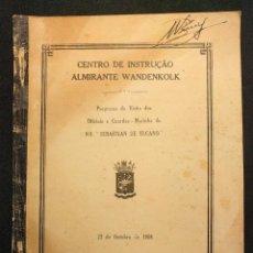 Militaria: PROGRAMA DA VISITA DOS OFICIAIS DO SEBASTIÁN DE ELCANO CENTRO DE INSTRUÇÂO WANDENKOLK BRASIL 1955. Lote 222398968