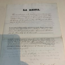 Militaria: TÍTULO OTORGADO DE SEGUNDO MÉDICO HONORARIO DEL CUERPO DE SANIDAD DE LA ARMADA 1855. Lote 222639116
