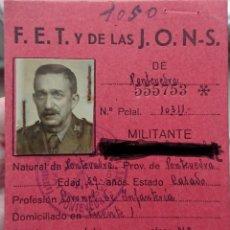 Militaria: CARNET FALANGE GOBERNADOR MILITAR DE LA CORUÑA. Lote 222973171