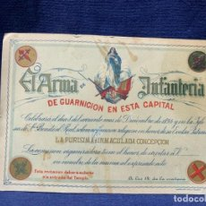 Militaria: EL ARMA DE INFANTERIA DE GUARNICION 1894 SAN BENITO EL REAL INVITACION FIESTA INMACULADA CONCEPCION. Lote 223160030