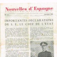 Militaria: 1951 NOUVELLES D´ESPAGNE PROPAGANDA DEL REGIMEN FRANQUISTA PARA EL EXTERIOR DE ESPAÑA ¡RARO!. Lote 223469721