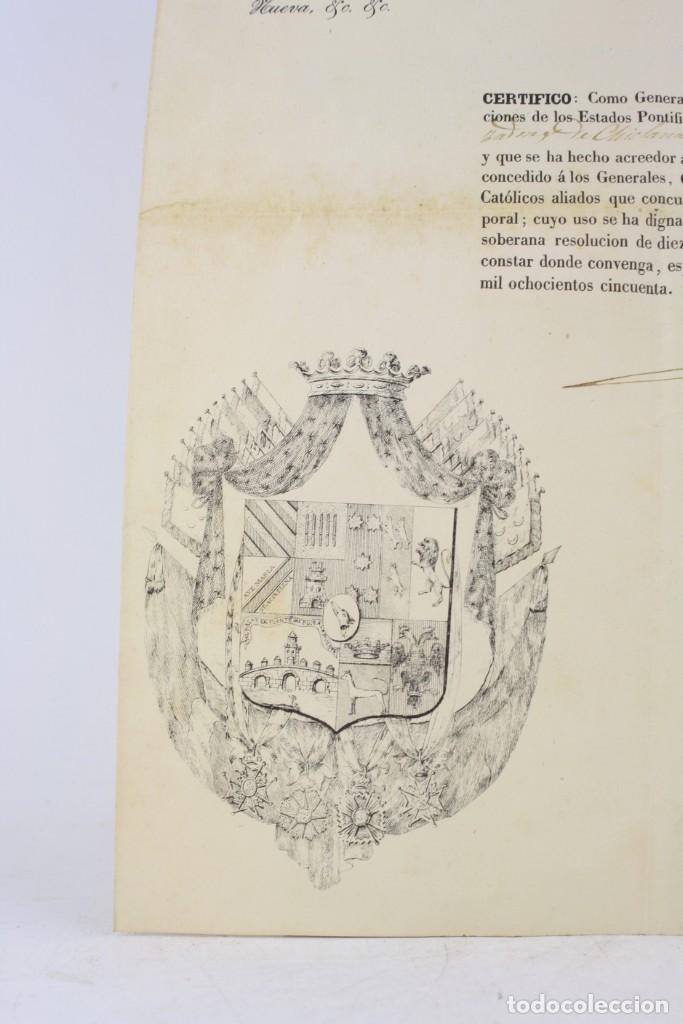Militaria: Fernando Fernandez de Cordova y Valcarcel, documento medalla de distinción teniente batallón, 1850. - Foto 3 - 223560795