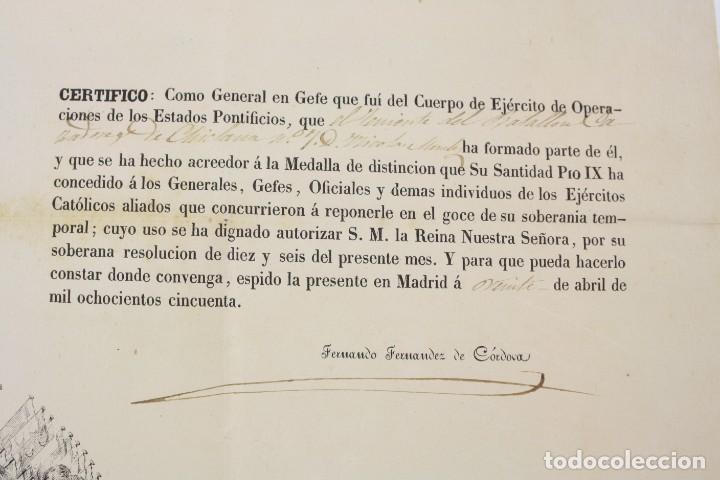 Militaria: Fernando Fernandez de Cordova y Valcarcel, documento medalla de distinción teniente batallón, 1850. - Foto 4 - 223560795