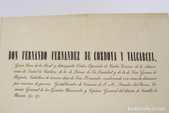 Militaria: Fernando Fernandez de Cordova y Valcarcel, documento medalla de distinción teniente batallón, 1850. - Foto 6 - 223560795