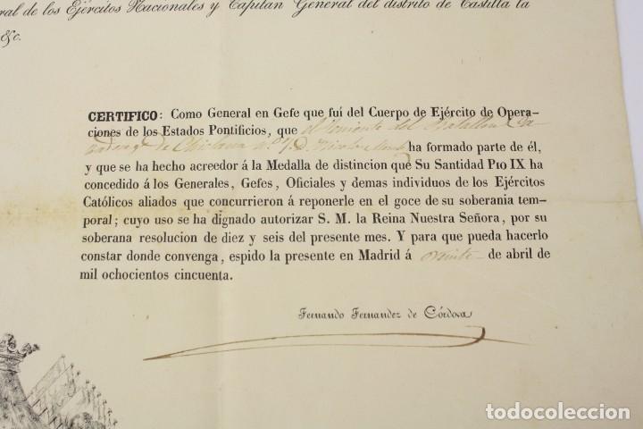 Militaria: Fernando Fernandez de Cordova y Valcarcel, documento medalla de distinción teniente batallón, 1850. - Foto 5 - 223560795