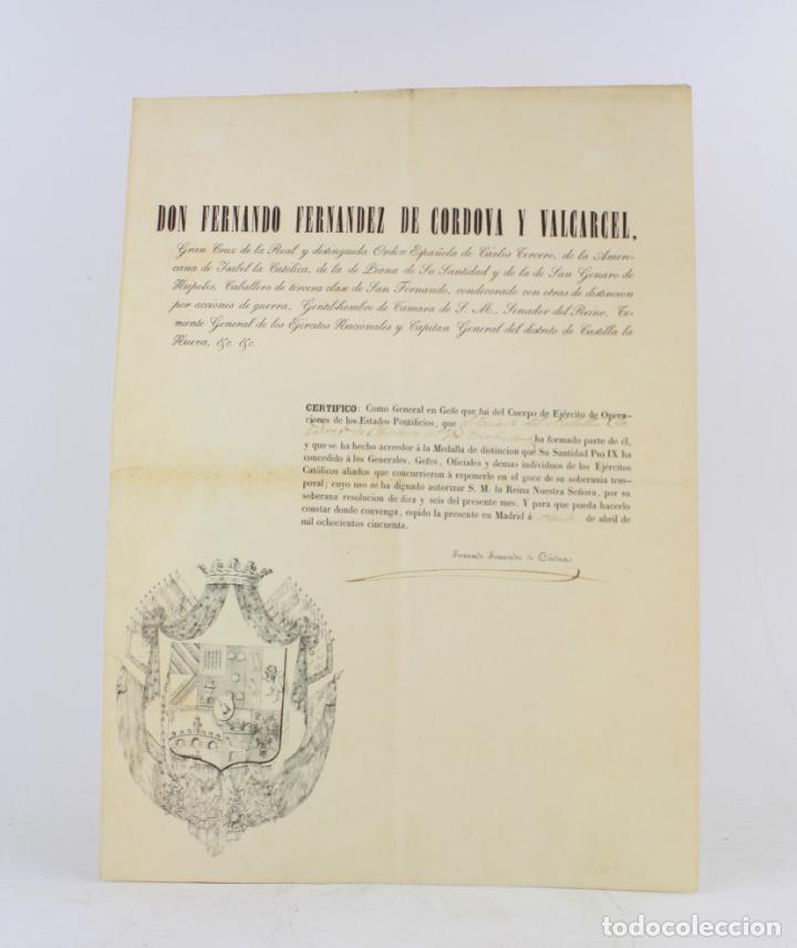 FERNANDO FERNANDEZ DE CORDOVA Y VALCARCEL, DOCUMENTO MEDALLA DE DISTINCIÓN TENIENTE BATALLÓN, 1850. (Militar - Propaganda y Documentos)