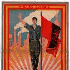 Militaria: CARTEL F.E. DE LAS J.O.N.S. DE ARAGÓN. AMANECER DIARIO NACIONALISTA-SINDICAL. MARCO-ZARAGOZA. 33X49.. Lote 223918327