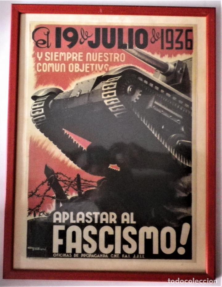CARTEL ENMARCADO GUERRA CIVIL (Militar - Propaganda y Documentos)