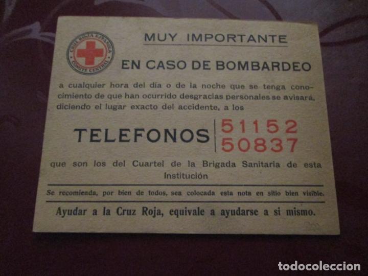 CRUZ ROJA ESPAÑOLA - COMITE CENTRAL - EN CASO DE BOMBARDEO (Militar - Propaganda y Documentos)
