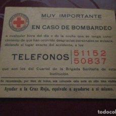 Militaria: CRUZ ROJA ESPAÑOLA - COMITE CENTRAL - EN CASO DE BOMBARDEO. Lote 224602150