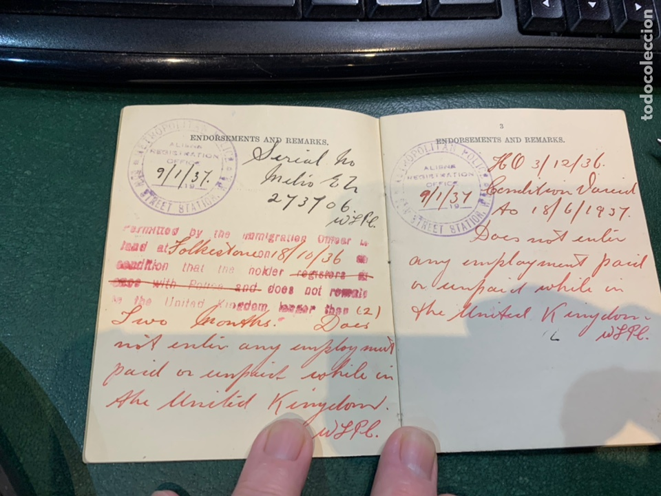 Militaria: Pasaporte Guerra Civil emitido en Reino Unido - Foto 5 - 224812628