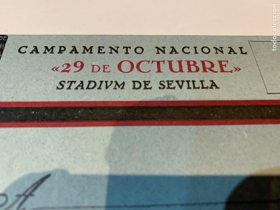 Militaria: Postal Campamento Nacional 29 Octubre Stadivm de Sevilla OJE - Frente Juventudes - Falange - - Foto 7 - 225029461
