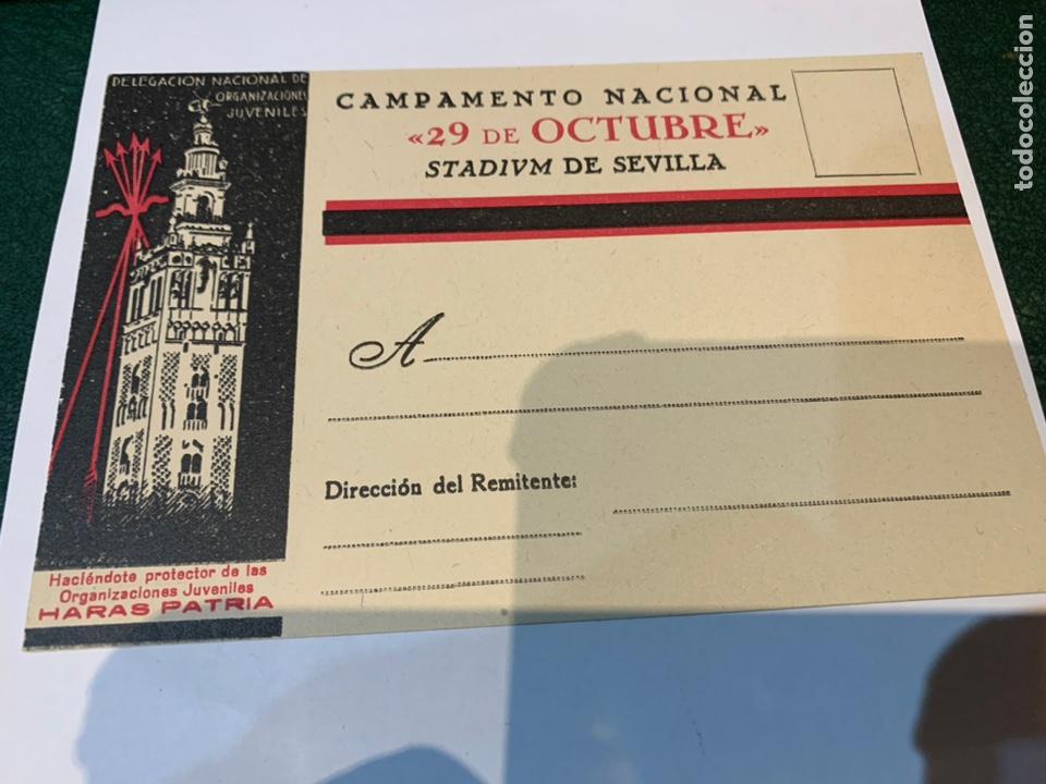 POSTAL CAMPAMENTO NACIONAL 29 OCTUBRE STADIVM DE SEVILLA OJE - FRENTE JUVENTUDES - FALANGE - (Militar - Propaganda y Documentos)